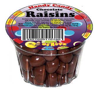 Handy Candy Chocolate Raisins Tub 65g - 18 Ctn