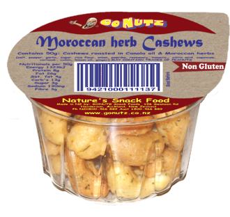 Cashews Moroccan Herb Tub 50g - 18 Ctn