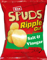 SPUDS Chips Ripple Cut Salt & Vinegar 40g - 24 Ctn